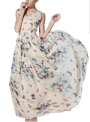 YOGLY Damen Kleid Sommer Elegant VAusschnitt Armlos Chiffon ...