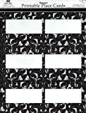 Celebration Black and White Place Cards, 3.75 x 1.5-Inches, 48 Cards per Pack (1601)
