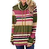 TianWlio Damen Hoodie Frauen Langarm Hoodie Mode Langarm Herbst Winter Cowl Neck Striped Langarm Kordelzug Pullover Top Sweatshirt Taschen