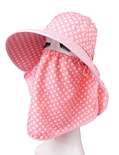Chapeau de soleil Été féminin Grandes corniches chapeau de soleil Couvrez le visage Anti-UV Protéger le cou Pliable Crème solaire Plage Cap ( Couleur : 3 ) 5