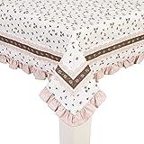 Tischdecke ROSEN, 150x250cm, weiß rosa braun, Baumwolle