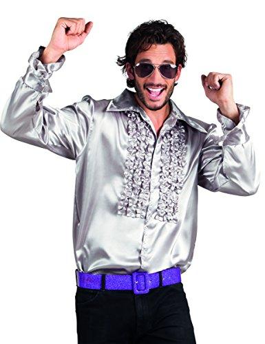 für Herren XXL (Silbernes Disco-hemd)