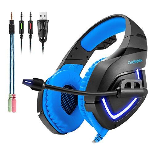 Gaming Headset PC,Professional Gaming Headset Over Ear, On Ear Gaming kopfhörer K1-B Einziehbare Kopfhörer mit Mikrofon USB Anschluss, LED-Leuchten für PS4, PC,Xbox One,Laptop, Handy (Blau) (Xbox One Led-leuchten Controller)