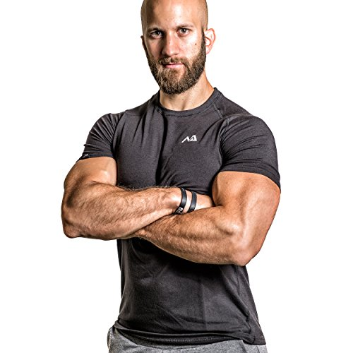 Natural Athlet Fitness T-Shirt Modal - Herren Männer Kurzarm Shirt Optimal für Fitnessstudio, Gym & Training - Passform Slim-Fit, Rundhals & Tailliert - Sport & Freizeit Schwarz