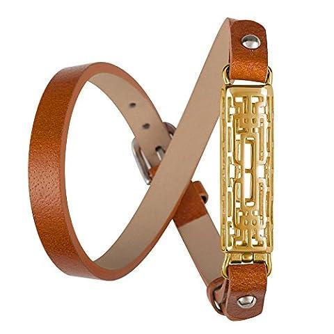 Wearlizer Cuir Bandes pour Fitbit Flex 2avec boîtier en métal, classique réglable Fitness de remplacement Accessoires Bracelet, Brown, Gold Case, grand