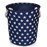 Blau Aufbewahrungsbox aus Leinen mit Sternen Muster - qualitativ hochwertiger Korb zur Aufbewahrung im Haushalt mit weiß Sternen. 40cm Durchmesser x 45cm Höhe