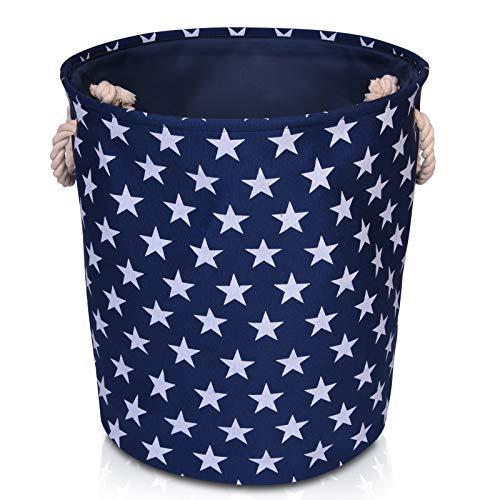 Cesta de Alta Calidad para Almacenamiento en el Hogar con Estrellas Grises 40cm x 30cm x 25cm Cesta de Lienzo Crema con Estrellas para Almacenamiento