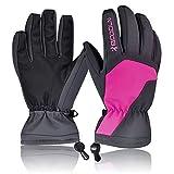 Motorrad Handschuh Gepolsterte Handschuhe Herren Damen Wasserdicht Winter Warm Für Radfahrer, Motorradfahrer, Snowboard, Skifahren ( Farbe : Rosen-Rot )