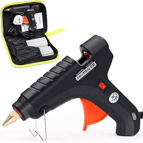 LeaderPro Hot Glue Gun 60W Melting Glue Gun with 20pcs Glue Sticks, for DIY Arts, Craft, Metal, Wood, Glass, Fabric, Plastic, with a Tool Bag