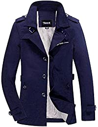 Zicac Men's Spring Autumn Military Slim Fit Long Sleeve Casual Single Breasted Turn Down Collar Jacket Parka Trench Coats Outerwear