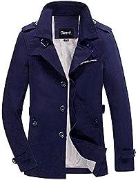 Zicac Herren Frühling Herbst 2015 Military Slim Fit Cotton Long Sleeve lässig, leicht, warme Jacke Parka Coats Anhäkeldeckchen Trench Blazer Outerwear mit vielen Taschen