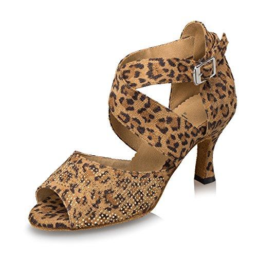 Frauen Velours Bequem Atmungsaktiv Tanzschuhe Latein Chia Chulumba Dance Schuhe, 42 Eu, Leopard 5 Cm (Velour Armband)