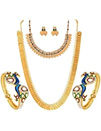 YouBella Gold Plated Pearl Studded Bangles Jewelry, Long Maharani Temple Coin Necklace, Short Red Green Necklace and Earrings for Women