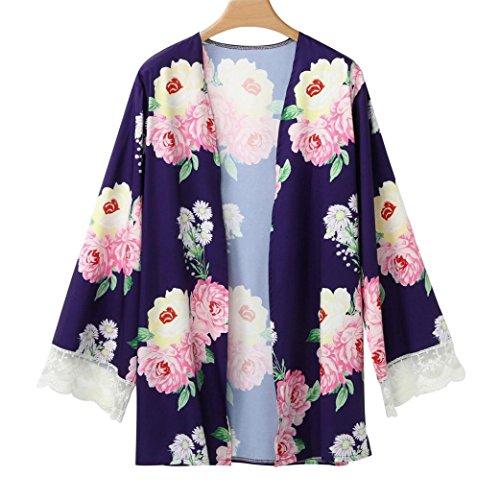 DOLDOA Frauen Blumen offen Kap Casual Coat Loose Bluse Kimono Jacke Strickjacke  (EU: (Plus Kaps Size)