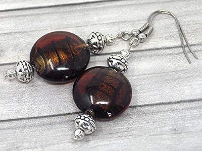 Boucles d'oreilles Venezia en acier inoxydable et perles plates en verre de Murano marron
