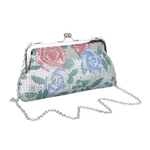 Damen Tasche, Abendtasche, Kleine Schultertasche Clutch, Synthetik, TA-Y219 Silber Multi