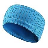 TOFERN Stirnband Schweißband Kopf breit reflektierend atmungsaktiv Fahrrad Yoga Fitness, Blau