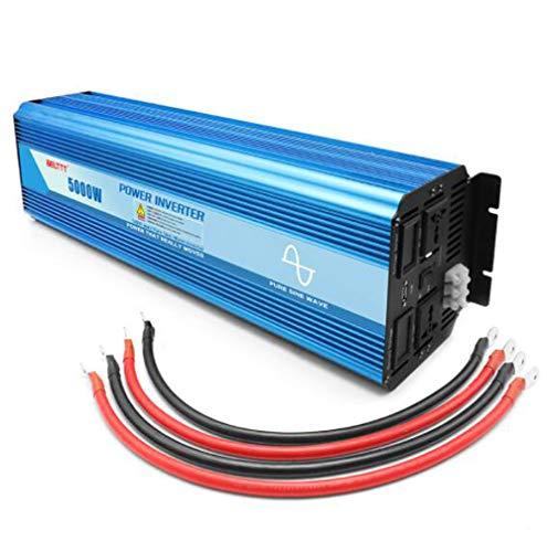 Huashao 5000 W Wechselrichter Reine Sinuswelle DC 24 V DC zu 48 V / 220 V Spannungswandler, Mit Zwei USB-Ladeanschlüssen und Wechselstromsteckdose, 2,5 P Wechselrichter,24Vto220V