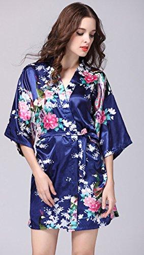 Sleepwear da donna in seta primavera estate stampa pavone casa accappatoio in raso confortevole casual elegante camicia da notte sleepshirts Marina Militare