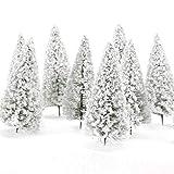 Mings Gadget familiari Dieci Pezzi Albero di Albero di Natale Bianco Modello Alberi di Cedro con Neve Bianca (10 cm)