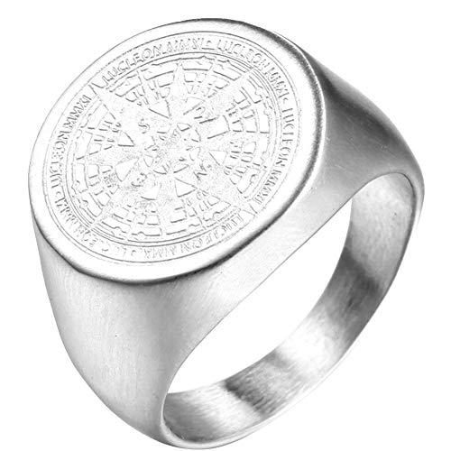 PAURO Herren Ring Edelstahl Retro Geheimnisvoller Runder Kompass Siegel Stern Silber Größe 65 (20.7)