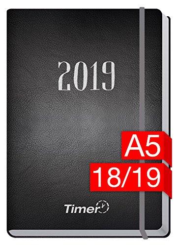 Chäff-Timer Premium A5 Kalender 2018/2019 [Silber] 18 Monate Juli 2018-Dezember 2019 - Gummiband, Einstecktasche - Terminkalender mit Wochenplaner - Organizer - Wochenkalender