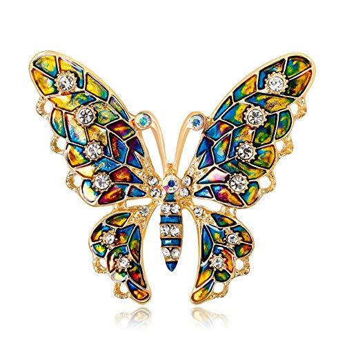 DPAHP Frauen Farbe Schmetterling Brosche Zubehör Jacke Diamant Kristall Strass Pin Korsett Damen Corsage Corsage