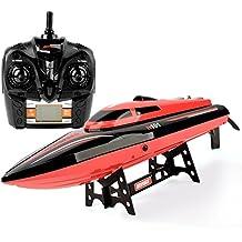 GizmoVine Nuevo Barco Lancha RC Alta Velocidad 30mph 2.4GHz Control Radio con Capsize Restablece Juguetes Teledirigidos Aventura en Mar con Batería Extra