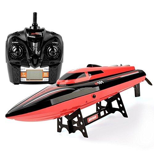 Preisvergleich Produktbild GizmoVine RC Boot H101 Neue Ankunft Hochgeschwindigkeitsboot-Rot 2.4GHz 20mph mit Kapsel-Rückstellungs-Funktion Fernsteuerungsspielwaren für Jungen Mit Extra Batterie