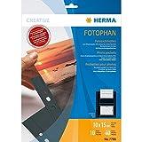 HERMA 7786 Fotophan Fotosichthüllen schwarz (10 x 15 cm quer, 10 Hüllen, Folie) mit Beschriftungsetiketten und Eurolochung für Ordner und Ringbücher, beidseitig bestückbare Fotohüllen