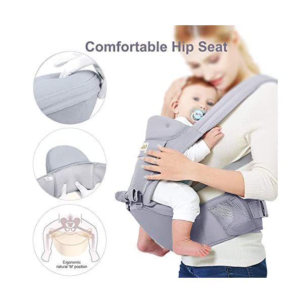 Viedouce Baby Carrier Ergonomic with Hip Seat/ Pure Cotton Lightweight and Breathable/ Multiposition:Dorsal, Ventral, Adjustable for Newborn and Toddler from 0 to 4 years (3.5 to 20 kg) Viedouce 【More environmentally friendly】 - High quality pure cotton fabric with 3D breathable mesh take care of your health and the health of your baby; The detachable sun visor and wind cap provide warmth in the winter and freshness in the summer. At the same time, the zipper buckle is designed for easy disassembly and cleaning. 【More ergonomic】 - An enlarged arc stool to better support the baby's thighs, the M design that allows the knees to be higher than the buttocks when your baby sits, is more ergonomic. 【Comfort and safety】 - The area near the abdomen is filled with a soft and thick sponge, reduces the pressure on the abdomen and gives more comfort to you and your baby. High quality professional safety buckles and velcro, shock absorbing pads, are equipped to protect your baby. 4