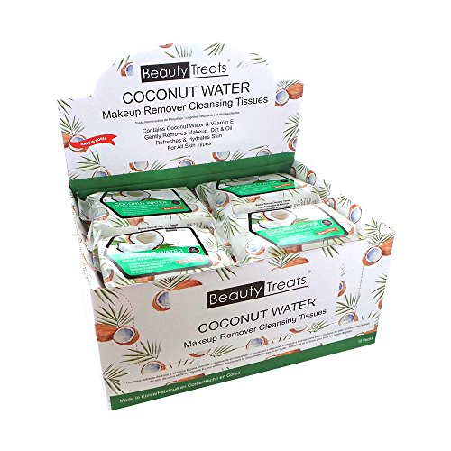BEAUTY TREATS Coconut Water Makeup Remover Cleaning Tissues Display Set, 12 Pieces