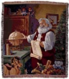 Santa Claus Checking Christmas List Holiday Tapestry Throw Blanket 50 x 60 USA Made by Simply Home