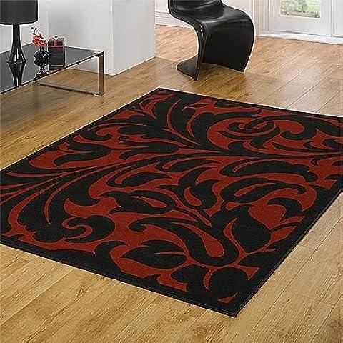 Flair Rugs Elemento Warwick Tappeto damascato, Nero/Rosso, 160x 220cm