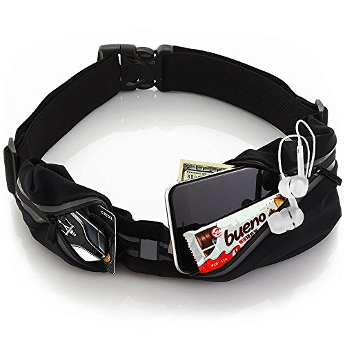 Running Belt - Sports WaistPack Bag, with 2 Dual Zipper Pockets, Sweatproof Waist Pack Pouch for Fitness Runner Jogging Cycling Hiking Dog Walking Money Travel, Suitable for Men and Women (black)