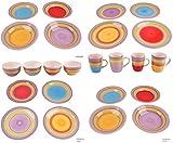 Riyashop Kombiservice Geschirrset Tafelservice Kaffeeservice Porzellan Geschirr Bunt (6er Set Teller Bunt 27 cm)