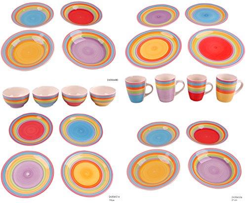 Riyashop Kombiservice Geschirrset Tafelservice Kaffeeservice Porzellan Geschirr Bunt (6er Set Teller...