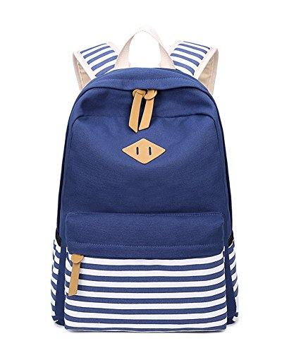 Canvas Vintage Bunten Streifen Polka Dot Schultasche für Jugend Teenager Mädchen jungen lässig Daypack Schultertasche Rucksack Dunkelblau