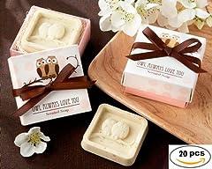 Idea Regalo - Disok-Lotto da 20 saponette aromatizzate, decorate con dei gufetti, in confezione regalo, ideali come bomboniere