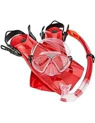 Ultrasport Aqua Fun - Set de esnórquel para niños, formado por máscara de buceo, esnórquel y aletas, color rojo, tamaño 28-31