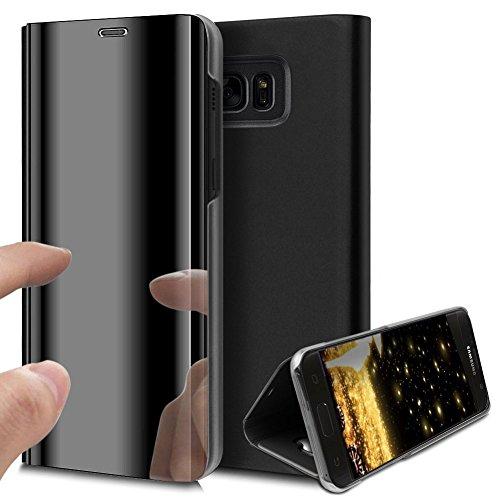 HMTECH Galaxy S6 Edge Hülle Luxus Spiegel Mirror Makeup magnetisch PU Leder Schutzhülle Handytasche Shell Tasche mit Standfunktion Flip Hard Case Hülle für S6 Edge,Black Mirror PU