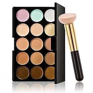 Imported Pro 15 Colors Contour Face Cream Makeup Concealer Palette w/ Powder Brush