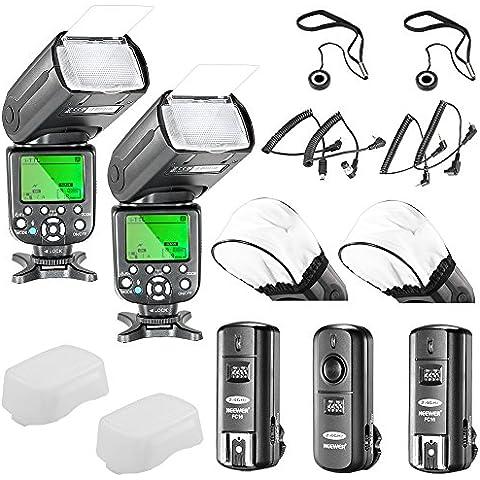 Neewer® Triopo TR-988 E-TTL/I-TTL Speedlites Fotocamera Schiavo Flash Kit per *Entrambi* Canon & Nikon Digitale SLR Fotocamera* Sincronizzare con Alta Velocità* Rebel SL1 XT Xti Xsi T1i T2i T3i T4i T5i XS EOS 5D Mark II 2 III 3 1Ds 6D 7D 60D 50D 40D 30D 300D 100D 350D 400D 450D 500D 550D, Include: (2) TR-988 Flash + (1)2.4GHz Wireless Innesco (1* Trasmettitore, 2*Ricevitori)+ (4)Fili(C1/C3/N1/N3) + (2) Flash Diffusore, + (2) Supporto del Copriobiettivo