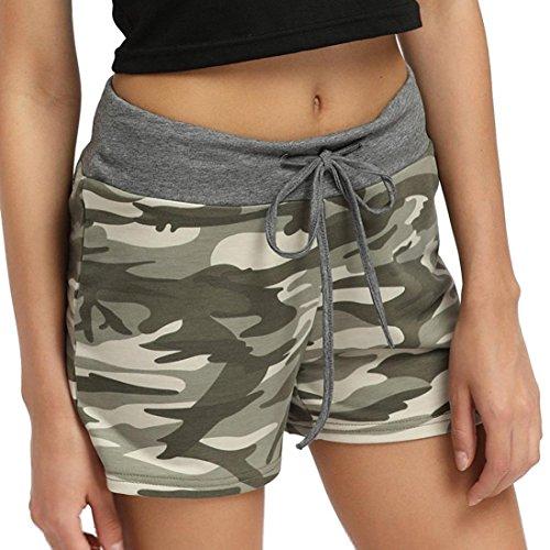 Siswong Damen Camo Yoga Shorts Kordelzug Sports Ausbildung Trunks Unterwäsche Elastisch Brief Short Unterhose (40 EU, Grün) (Waschen Hipster-jean)