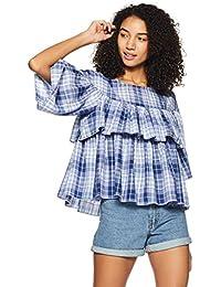 United Colors of Benetton Women's Checkered Regular Fit Shirt