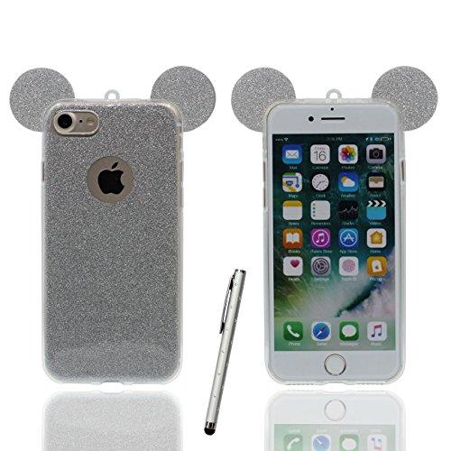 Schutzhülle für iPhone 6S Plus Hülle Hübsch Schön Cartoon Mouse-Ohren Serie Dünn Leicht Weich Silikon Transparent Case Cover für Apple iPhone 6 Plus 6S Plus 5.5 inch X 1 Stylus-Stift grau