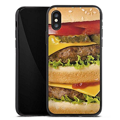 Apple iPhone X Silikon Hülle Case Schutzhülle Hamburger Cheeseburger Fast Food Silikon Case schwarz