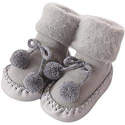 Calcetines para bebé, K-youth® Prewalkers zapatos antideslizantes Calcetines Bebé Anti-slip Calcetines Niños (Gris, 0-6 meses)