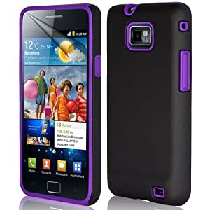 Supergets® Samsung Galaxy S2 Purple Hybrid With Silicone Case, Screen Protector And Polishing Cloth