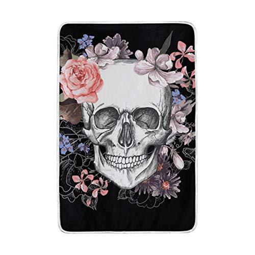 DOSHINE Zwillings-Decke, Sugar Skull Flower Halloween weich, leicht, Warmer Decken 152,4 x 228,6 cm für Sofa, Bett, Stuhl, Büro